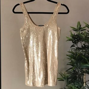 Express Gold Ribbed Sequined Tank Top